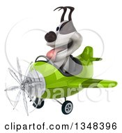 Clipart Of A 3d Jack Russell Terrier Dog Aviator Pilot Flying A Green Airplane To The Left Royalty Free Illustration