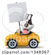 Clipart Of A 3d Jack Russell Terrier Dog Holding A Blank Sign And Driving A Yellow Convertible Car To The Left Royalty Free Illustration