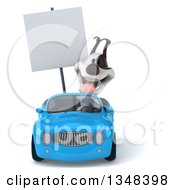 Clipart Of A 3d Jack Russell Terrier Dog Holding A Blank Sign And Driving A Blue Convertible Car Royalty Free Illustration