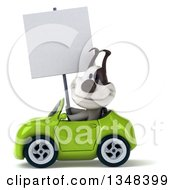 Clipart Of A 3d Jack Russell Terrier Dog Holding A Blank Sign And Driving A Green Convertible Car To The Left Royalty Free Illustration