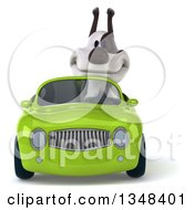 3d Jack Russell Terrier Dog Driving A Green Convertible Car