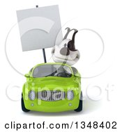 Clipart Of A 3d Jack Russell Terrier Dog Holding A Blank Sign And Driving A Green Convertible Car Royalty Free Illustration