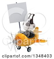 Clipart Of A 3d Jack Russell Terrier Dog Aviator Pilot Holding A Blank Sign And Flying A Yellow Airplane To The Left Royalty Free Illustration