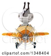 Clipart Of A 3d Jack Russell Terrier Dog Aviator Pilot Flying A Yellow Airplane Royalty Free Illustration by Julos