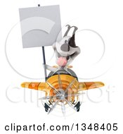 Clipart Of A 3d Jack Russell Terrier Dog Aviator Pilot Holding A Blank Sign And Flying A Yellow Airplane Royalty Free Illustration