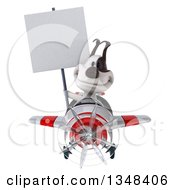 Clipart Of A 3d Jack Russell Terrier Dog Aviator Pilot Holding A Blank Sign And Flying A White And Red Airplane To The Left Royalty Free Illustration