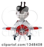 Clipart Of A 3d Jack Russell Terrier Dog Aviator Pilot Wearing Sunglasses And Flying A White And Red Airplane Royalty Free Illustration