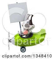 Clipart Of A 3d Jack Russell Terrier Dog Aviator Pilot Holding A Blank Sign And Flying A Green Airplane To The Left Royalty Free Illustration