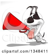 Clipart Of A Cartoon Jack Russell Terrier Dog Using A Megaphone Royalty Free Illustration