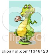 Clipart Of A Cartoon Crocodile Meditating And Holding A Brain Over A Green And Tan Background Royalty Free Illustration