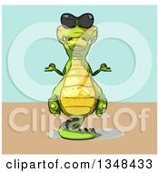 Clipart Of A Cartoon Crocodile Wearing Sunglasses And Meditating Over A Green And Tan Background Royalty Free Illustration