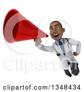 Clipart Of A 3d Young Black Male Doctor Flying With A Megaphone Royalty Free Illustration