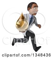Clipart Of A 3d Young Black Male Doctor Holding An Amber Tincture Drop And Sprinting To The Right Royalty Free Illustration