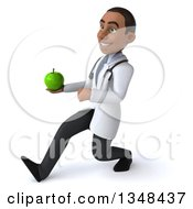 Clipart Of A 3d Young Black Male Nutritionist Doctor Holding A Green Apple And Speed Walking To The Left Royalty Free Illustration