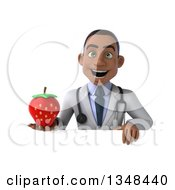 Clipart Of A 3d Young Black Male Nutritionist Doctor Holding A Strawberry Over A Sign Royalty Free Illustration
