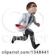 Clipart Of A 3d Young Black Male Nutritionist Doctor Holding A Beef Steak And Sprinting To The Right Royalty Free Illustration