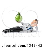 Clipart Of A 3d Young Brunette White Male Doctor Holding A Green Tincture Drop And Resting On His Side Royalty Free Illustration