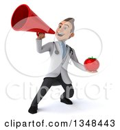 Clipart Of A 3d Young Brunette White Male Nutritionist Doctor Holding A Tomato And Using A Megaphone Royalty Free Illustration