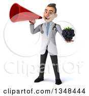 Clipart Of A 3d Young Brunette White Male Nutritionist Doctor Holding A Blackberry And Using A Megaphone Royalty Free Illustration