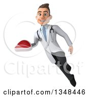 Clipart Of A 3d Young Brunette White Male Nutritionist Doctor Holding A Beef Steak And Flying Royalty Free Illustration