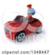 Clipart Of A 3d Colorful Clown Wearing Sunglasses And Driving A Red Convertible Car To The Left Royalty Free Illustration
