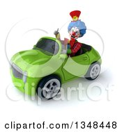 Clipart Of A 3d Colorful Clown Giving A Thumb Up And Driving A Green Convertible Car To The Left Royalty Free Illustration