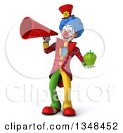 Clipart Of A 3d Colorful Clown Holding A Green Bell Pepper And Using A Megaphone Royalty Free Illustration