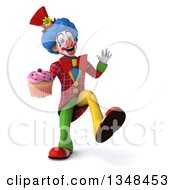 Clipart Of A 3d Colorful Clown Holding A Cupcake Dancing And Waving Royalty Free Illustration