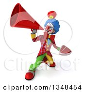 Clipart Of A 3d Colorful Clown Holding A Beef Steak And Using A Megaphone Royalty Free Illustration