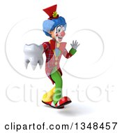 Clipart Of A 3d Colorful Clown Holding A Tooth Walking To The Right And Waving Royalty Free Illustration