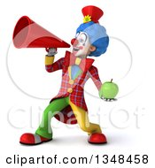 Clipart Of A 3d Colorful Clown Hodling A Green Apple And Using A Megaphone Royalty Free Illustration