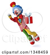 Clipart Of A 3d Colorful Clown Holding A Gift And Flying Royalty Free Illustration
