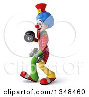 Clipart Of A 3d Colorful Clown Working Out Walking To The Left With Dumbbells Royalty Free Illustration