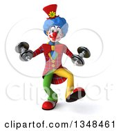Clipart Of A 3d Colorful Clown Working Out Walking With Dumbbells Royalty Free Illustration