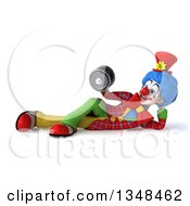 Clipart Of A 3d Colorful Clown Working Out Resting On His Side And Doing Bicep Curls With A Dumbbell Royalty Free Illustration