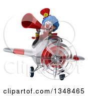 Clipart Of A 3d Colorful Clown Aviator Pilot Using A Megaphone And Flying A White And Red Airplane Royalty Free Illustration