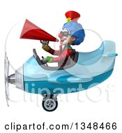 Clipart Of A 3d Colorful Clown Aviator Pilot Wearing Sunglasses Announcing With A Megaphone And Flying A Blue Airplane To The Left Royalty Free Illustration