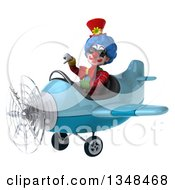 Clipart Of A 3d Colorful Clown Aviator Pilot Wearing Sunglasses Giving A Thumb Down And Flying A Blue Airplane To The Left Royalty Free Illustration