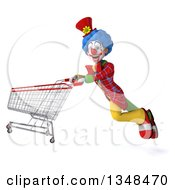 Clipart Of A 3d Colorful Clown Flying With A Shopping Cart Royalty Free Illustration
