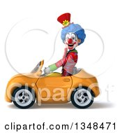 Clipart Of A 3d Colorful Clown Driving A Yellow Convertible Car To The Left Royalty Free Illustration
