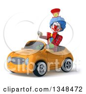 Clipart Of A 3d Colorful Clown Giving A Thumb Down And Driving A Yellow Convertible Car To The Left Royalty Free Illustration