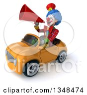 Clipart Of A 3d Colorful Clown Announcing With A Megaphone And Driving A Yellow Convertible Car To The Left Royalty Free Illustration