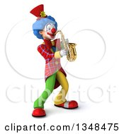 Clipart Of A 3d Colorful Clown Playing A Saxophone Royalty Free Illustration by Julos