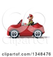 Clipart Of A 3d Funky Clown Wearing Sunglasses And Driving A Red Convertible Car To The Left Royalty Free Illustration