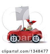 Clipart Of A 3d Funky Clown Wearing Sunglasses Holding A Blank Sign And Driving A Red Convertible Car To The Left Royalty Free Illustration