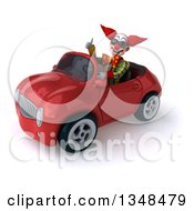 Clipart Of A 3d Funky Clown Wearing Sunglasses Giving A Thumb Up And Driving A Red Convertible Car To The Left Royalty Free Illustration