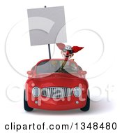Clipart Of A 3d Funky Clown Wearing Sunglasses Holding A Blank Sign And Driving A Red Convertible Car Royalty Free Illustration