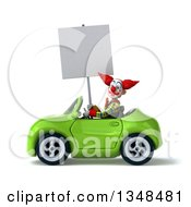 Clipart Of A 3d Funky Clown Holding A Blank Sign And Driving A Green Convertible Car To The Left Royalty Free Illustration