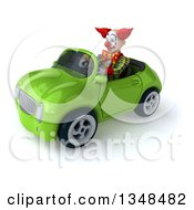 Clipart Of A 3d Funky Clown Driving A Green Convertible Car To The Left Royalty Free Illustration