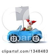 Clipart Of A 3d Funky Clown Holding A Blank Sign And Driving A Blue Convertible Car To The Left Royalty Free Illustration
